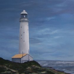 Noordhoek lighthouse – oil on canvas, 80cm x 1m – for sale