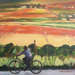 Boy on a bike – oil on canvas, 30cm x 30cm – for sale