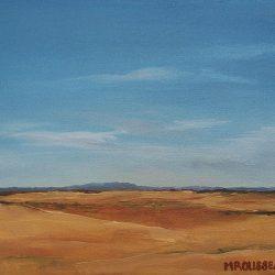 Dry landscape – oil on canvas, 50cm x 50cm – for sale